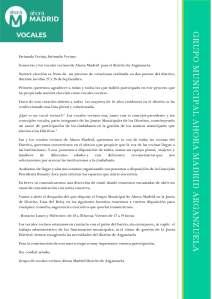 Carta de Presentación Vocales vecinos de Ahora Madrid